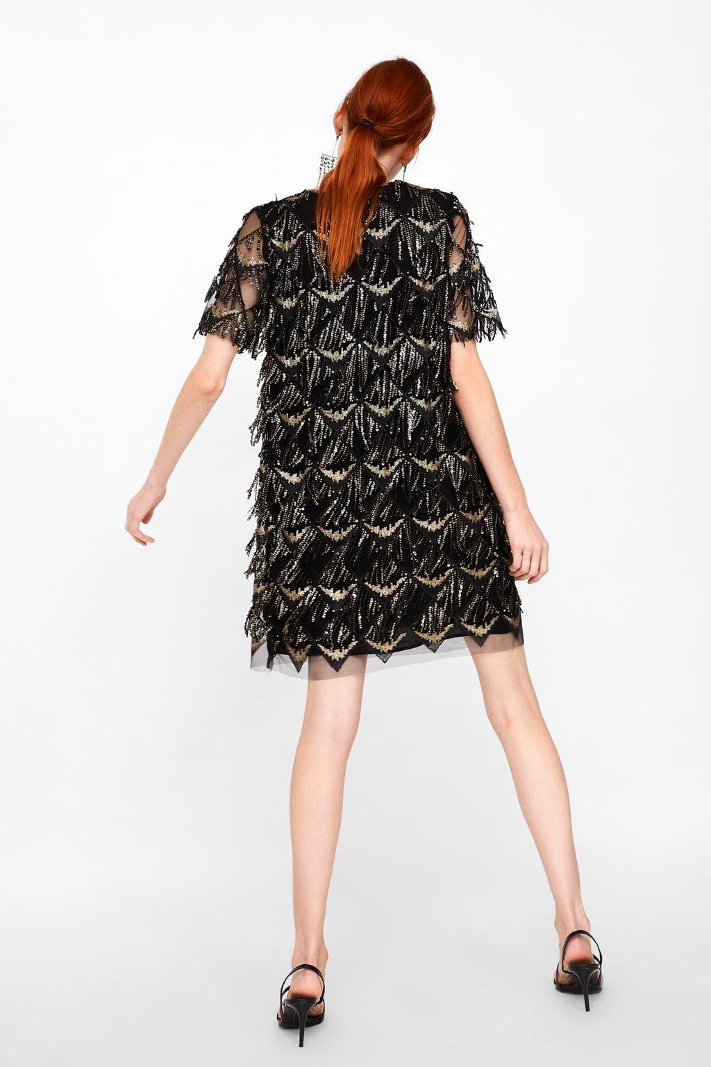 Image 5 De Robe A Franges Et Paillettes De Zara