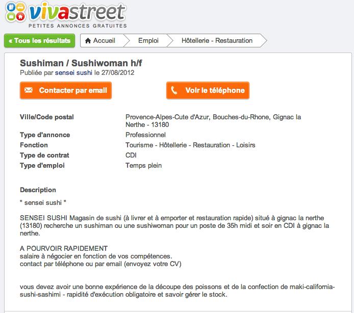 Sushiman Sushiwoman Contrat Cdi Offre Emploi Petites Annonces