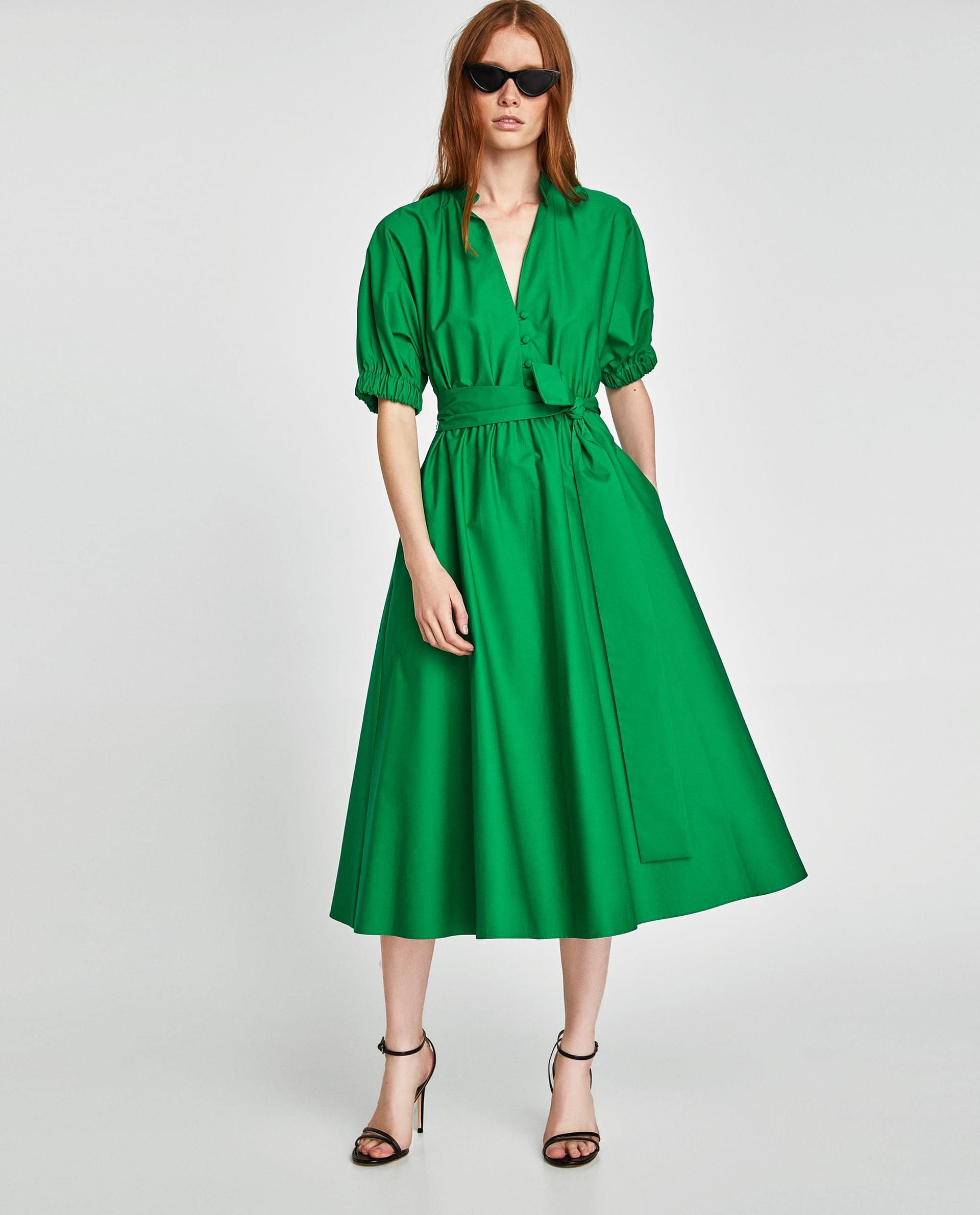 836830de Midi Dress With Voluminous Sleeves // 69.90 USD // Zara // Midi dress with  high collar and V-neck front. Short voluminous sleeves and elastic cuffs.