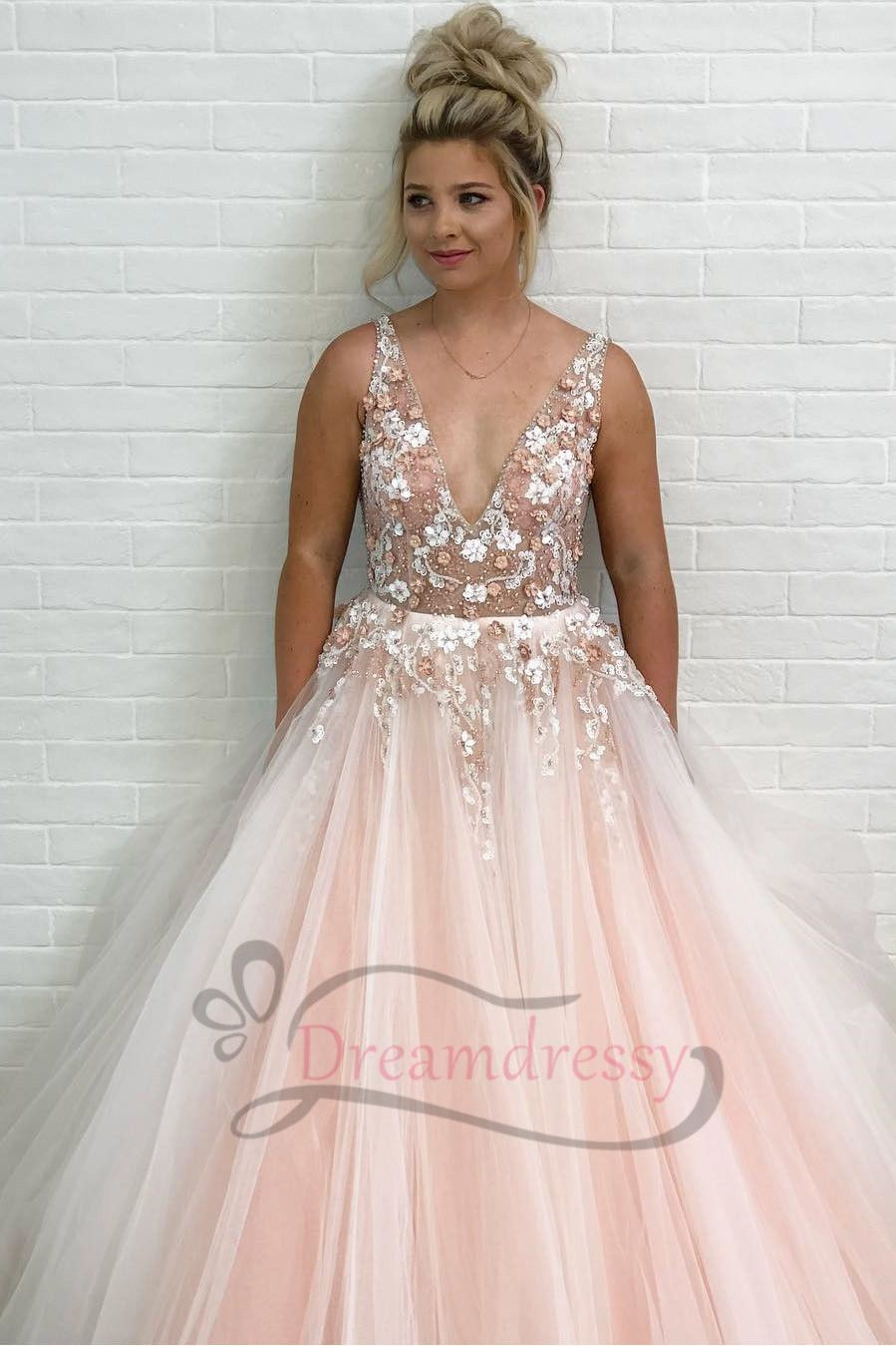 Princess pink long prom dress with flowers in prom
