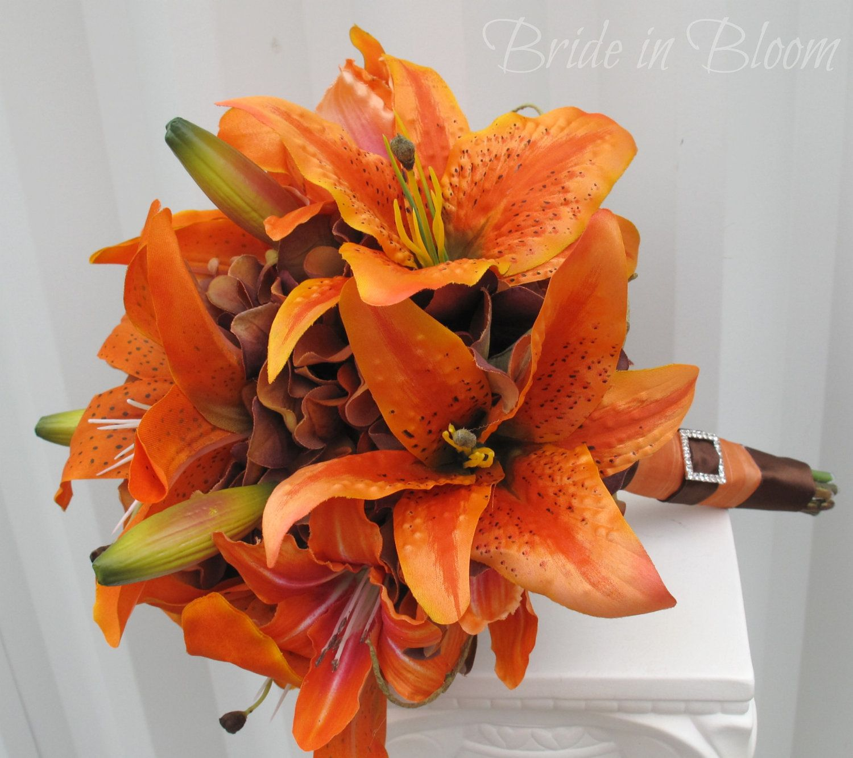 Tiger Lily Wedding Bouquet Silk Bridal Bouquet Orange Brown Autumn