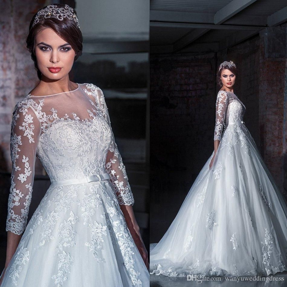 Exquisite long tulle new bridal gowns fashionable illusion
