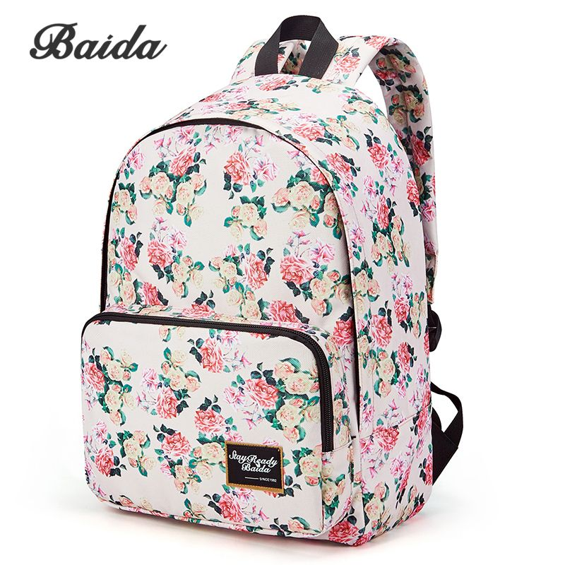 541b544c40 BAIDA Brand Fashion Floral Print Backpack School Book Bags Yellow and Pink  Rose Flower Backpacks for Teen Girls High School