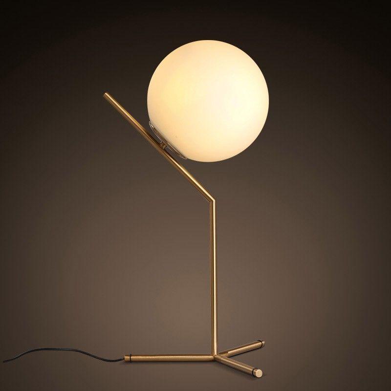 Cattel Modern White Globe 1 Light Creative Table Lamp Glass U0026 Metal In  Brass