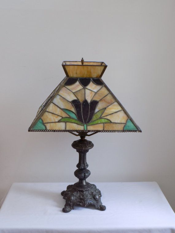 Large Antique Wilkinson Lead Stained Mosaic Glass Table Lamp Tulip    Tiffany Slag Style Lighting Decor
