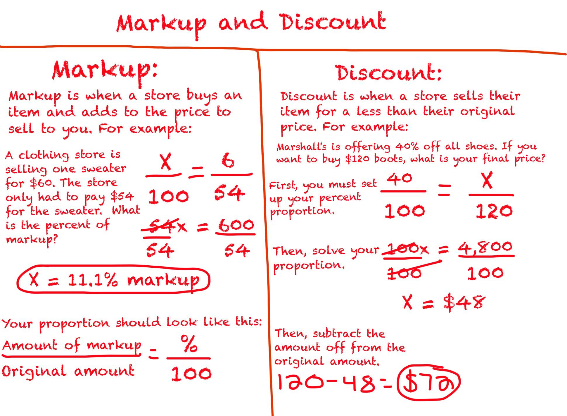 small resolution of Markup and discount   Math worksheet