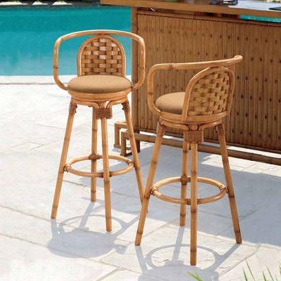 Living Home Outdoors Swivel Tiki Barstool Set Of 2 Bjs