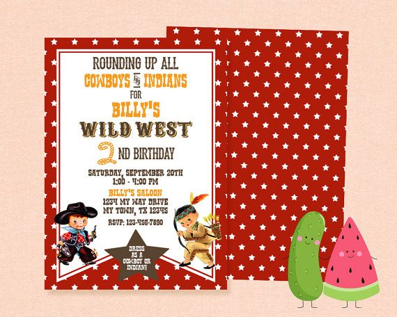 Cowboy and Indian Invitation Wild West Vintage by PickyMelon