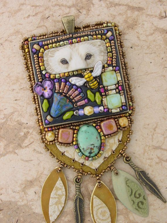Mosaic Spirit Bear Necklace by HeidiKummliDesigns on Etsy, $185.00 (such detail - truly magical!)
