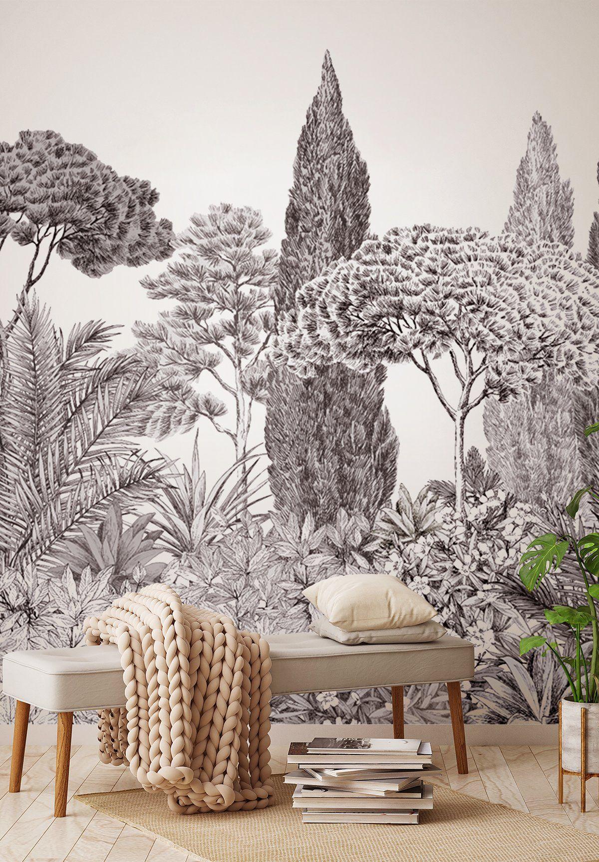 Papier Peint Panoramique Noir Et Blanc riviera grisaille | papier peint panoramique, papier peint