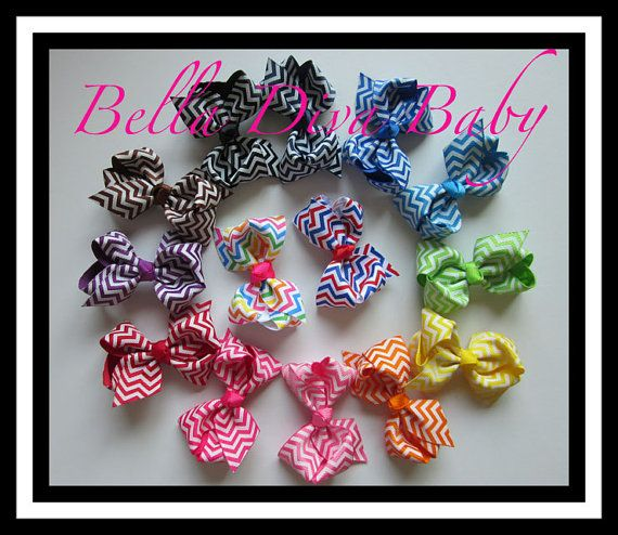 Boutique bow chevron colors  great to attach in by BellaDivaBaby