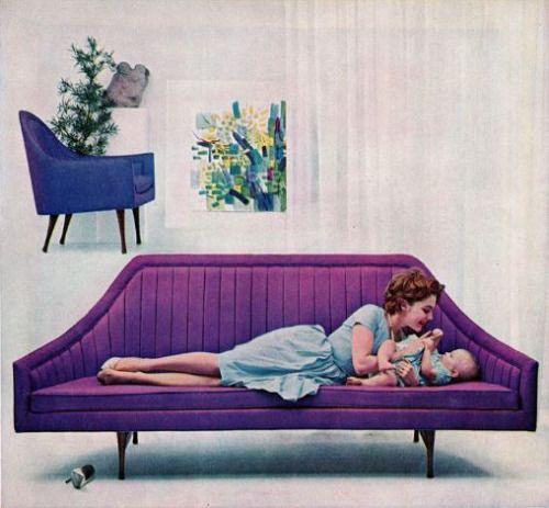 purple retro couch
