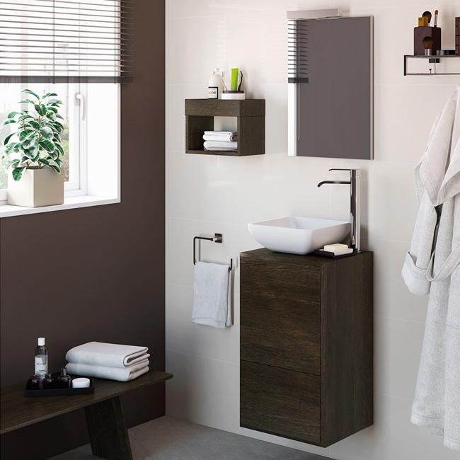 Conjunto para aseo mueble de fondo reducido 35cm for Mueble lavabo sobre encimera