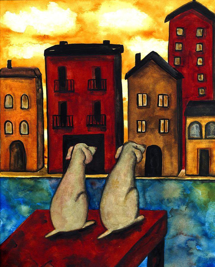 HUSKY DOG art PRINT abstract folk pop ART JSCHMETZ WINE art vineyard 13x19