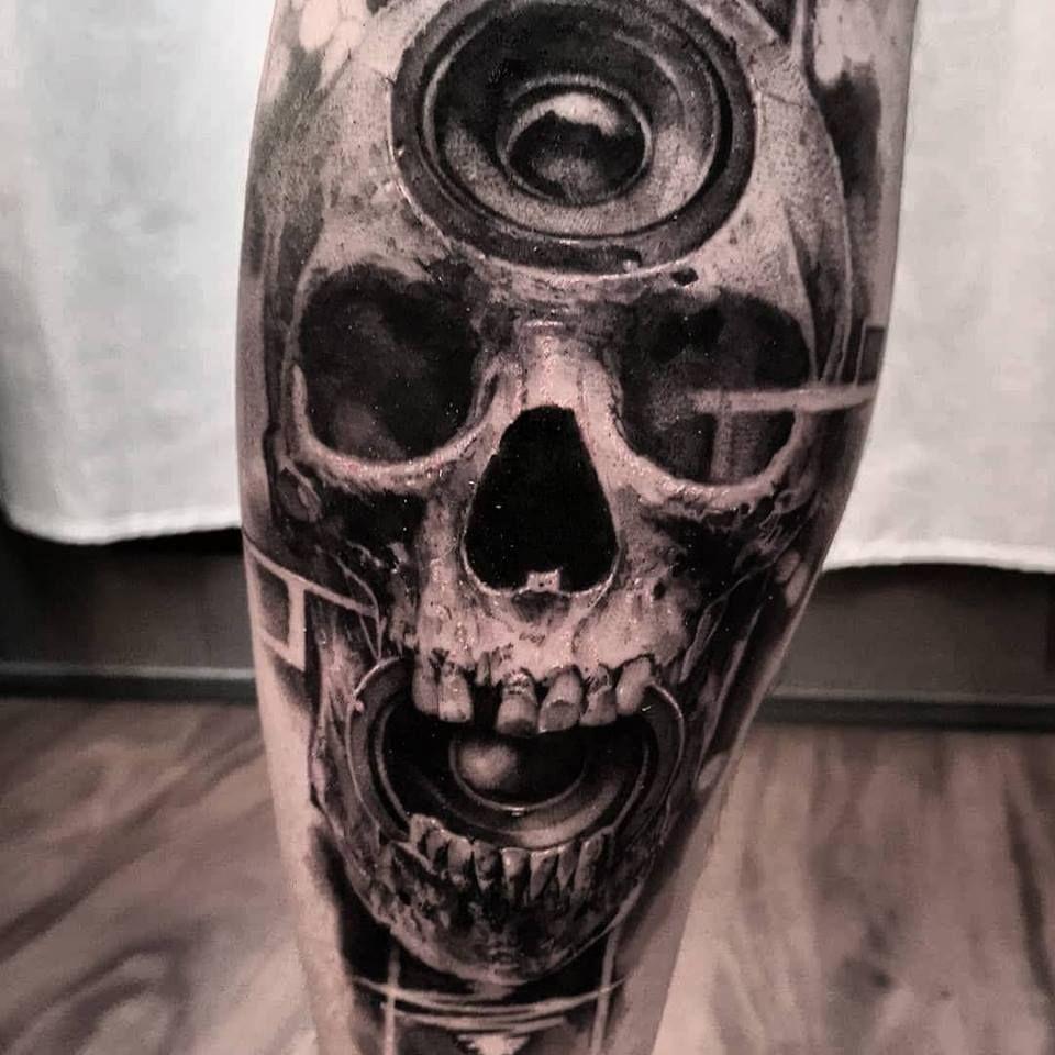 Realistic Black And Grey Skull Tattoo Made By John Hudic In Nice France Travelling Tattoo Artist Skeleton Skeletontattoo Besttattoos Skullhead Tattood