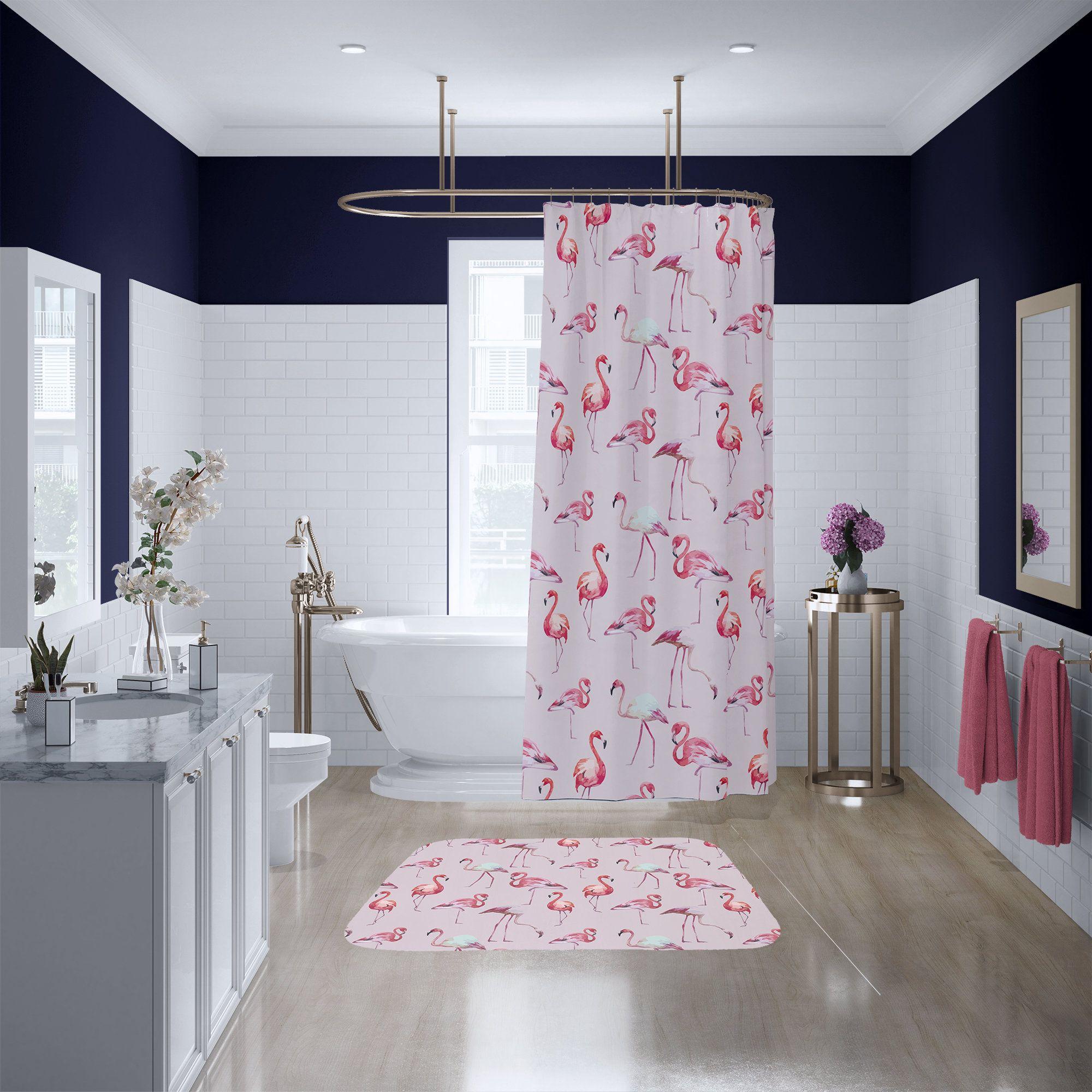 Pink Flamingo Pattern Shower Curtain Custom Printed Bath Curtain Fabric Shower Curtain Extra Long Bath Curtain Fabric Shower Curtains Pink Shower Curtains Long Shower Curtains