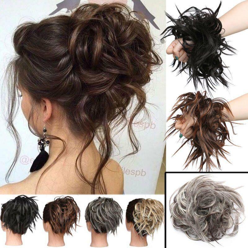 Messy Bun Ponytail Scrunchie Tousled Hair Piece Extensions Black Brown Blonde Us Bun Hair Piece Curly Hair Pieces Hair Pieces