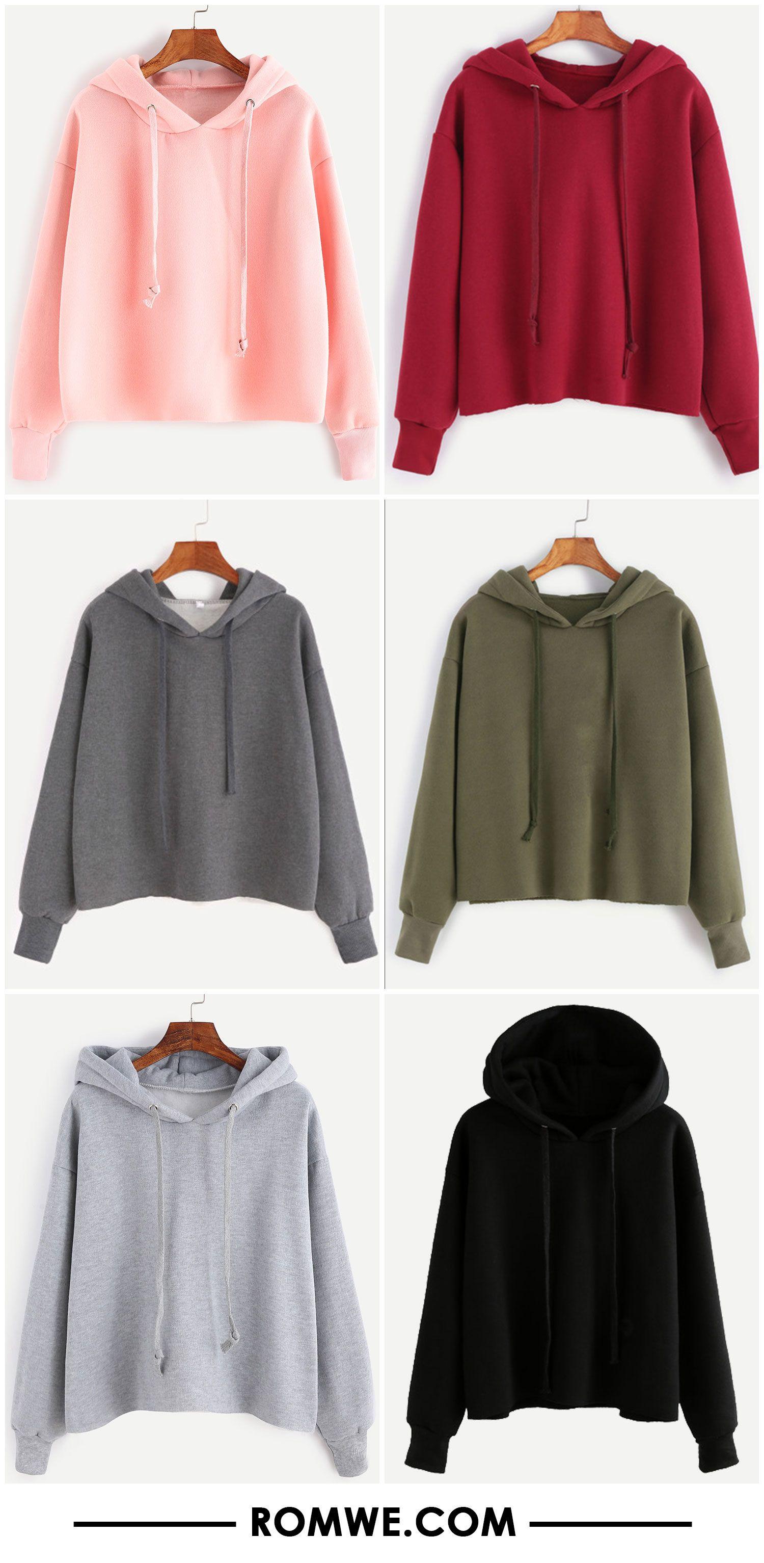 Drawstring Hooded Raw Hem Sweatshirt | sweaters | Pinterest ...