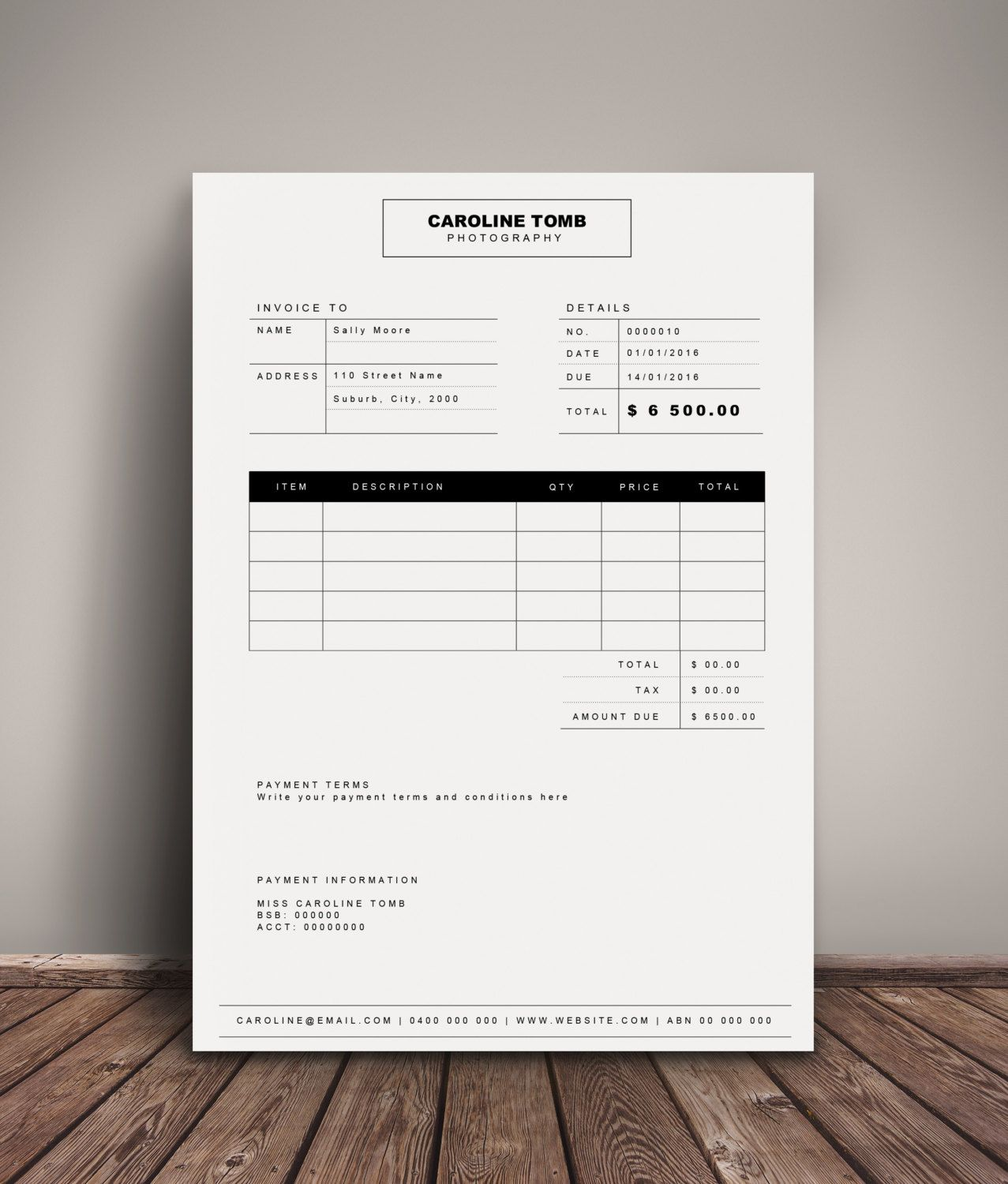 Invoice template | Receipt template | Invoice instant download | MS ...