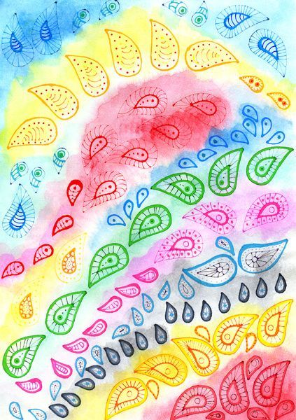 Paisleys over watercolor Art Print by Heaven7 | Society6
