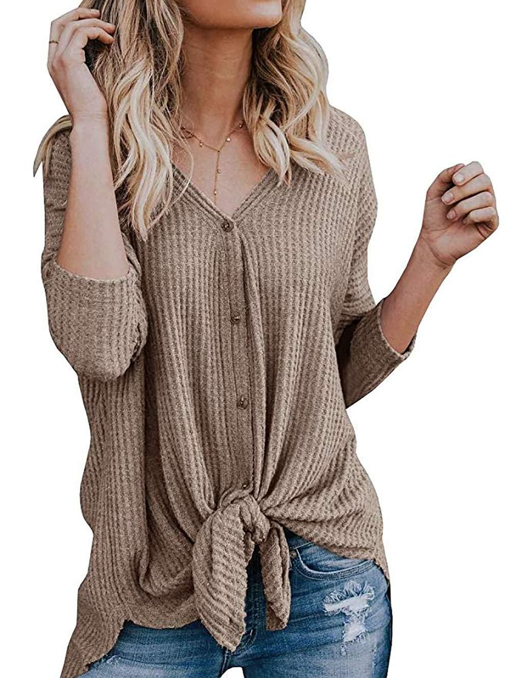 151645b2d ... Ladies Femme Jacket Outwear Button T-shirt. Waffle Knit Tunic Blouse | Tie  Knot Henley Tops | Loose Fitting Bat Wing Plain Shirts
