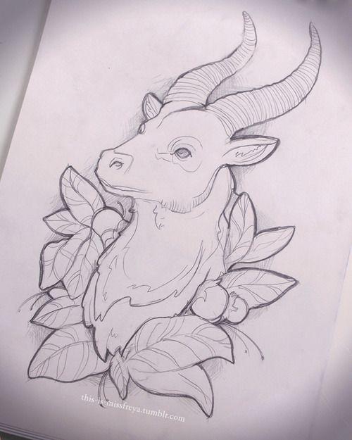 козерог рисунок карандашом
