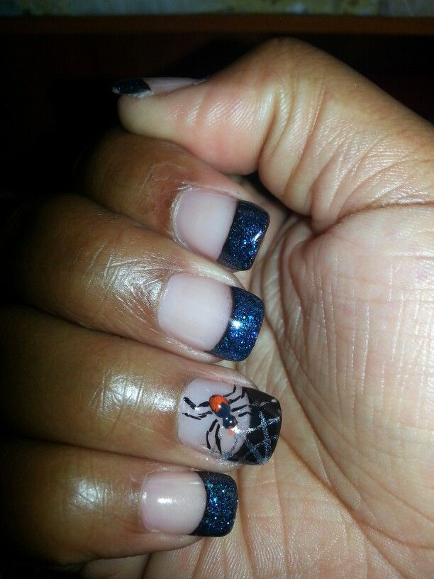 black and blue halloween nails