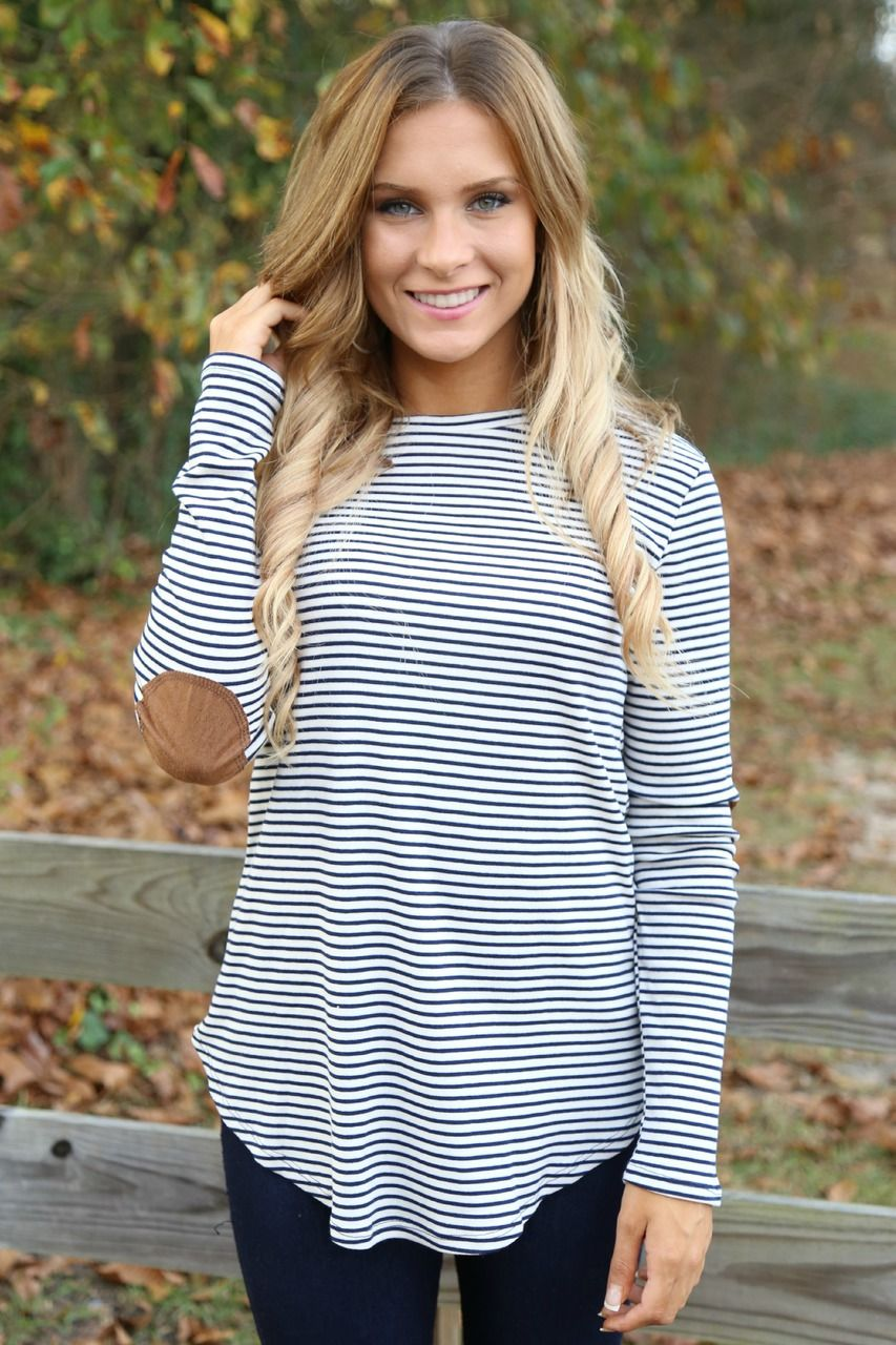 4600e79f05764 navy stripe tunic with elbow patches | Off the Racks Boutique ...