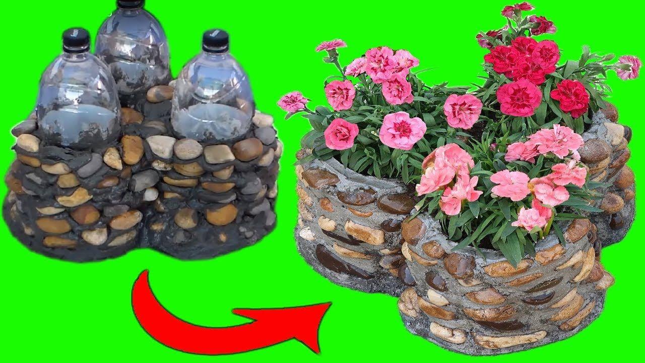 Como Hacer Macetas De Cemento Y Piedras Con Botellas De