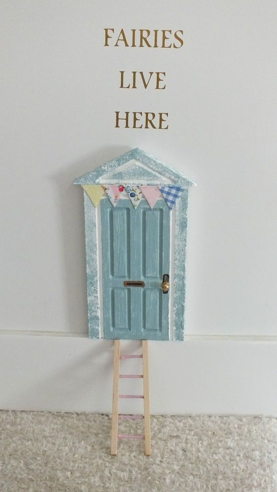 New hand painted skirting board fairy door duck egg blue for Painted fairy doors