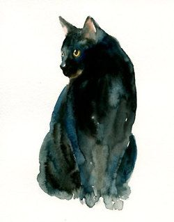 Aquarelle Chat Noir Watercolor Cat Cat Painting Black Cat Art