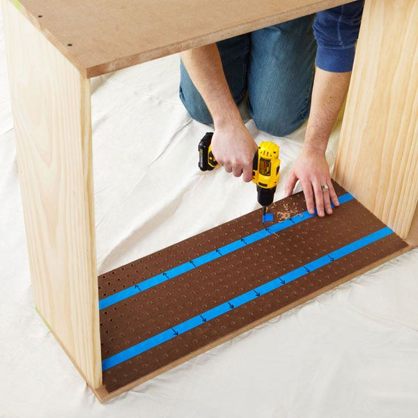 Drill Shelf Pin Holes In The Cabinet Sides Using Pegboard Template Freestanding Kitchen Wood Joinery Wood Diy