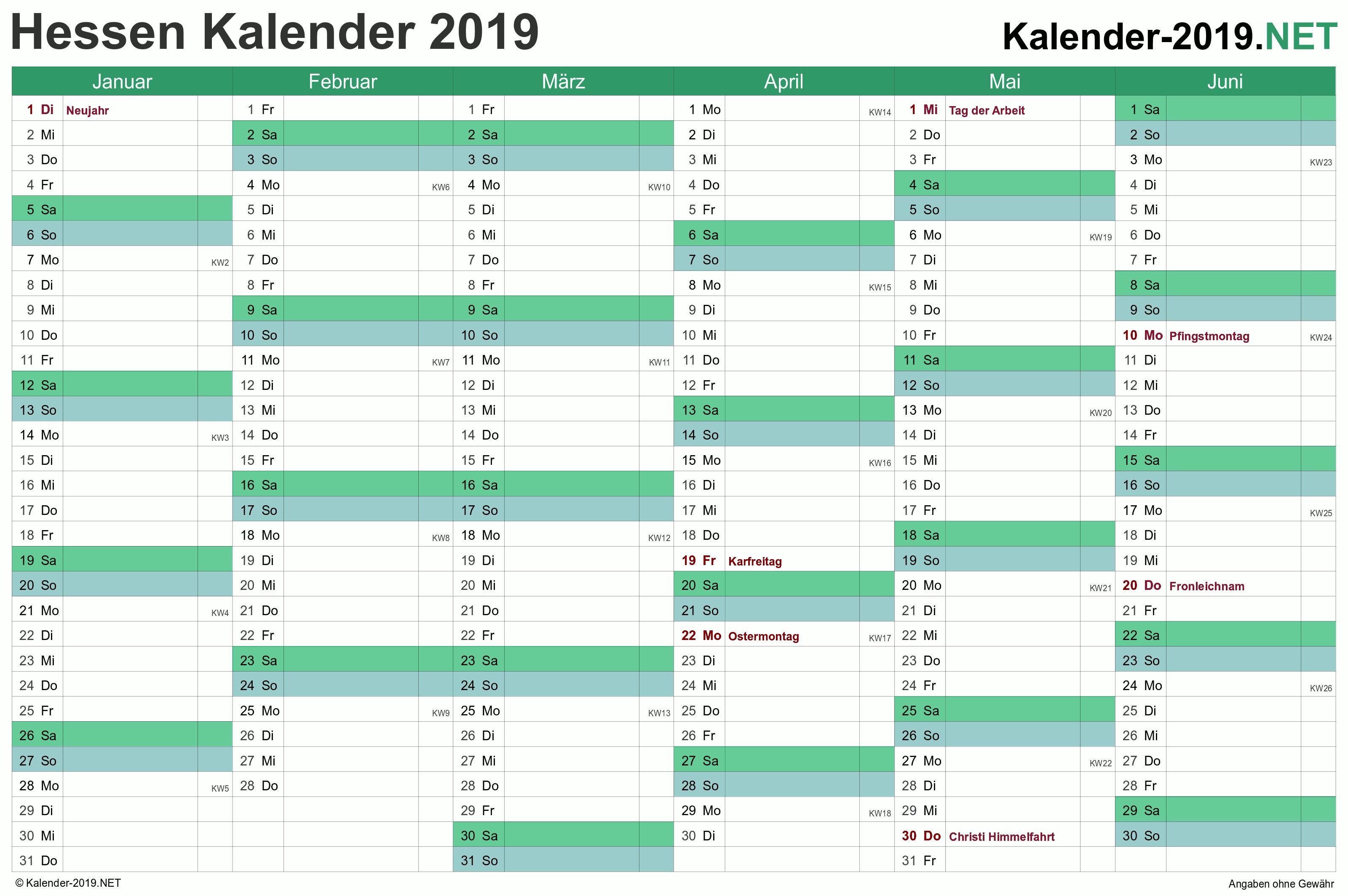 Hessen Kalender 2019 Mit Feiertagen Kalender 2018