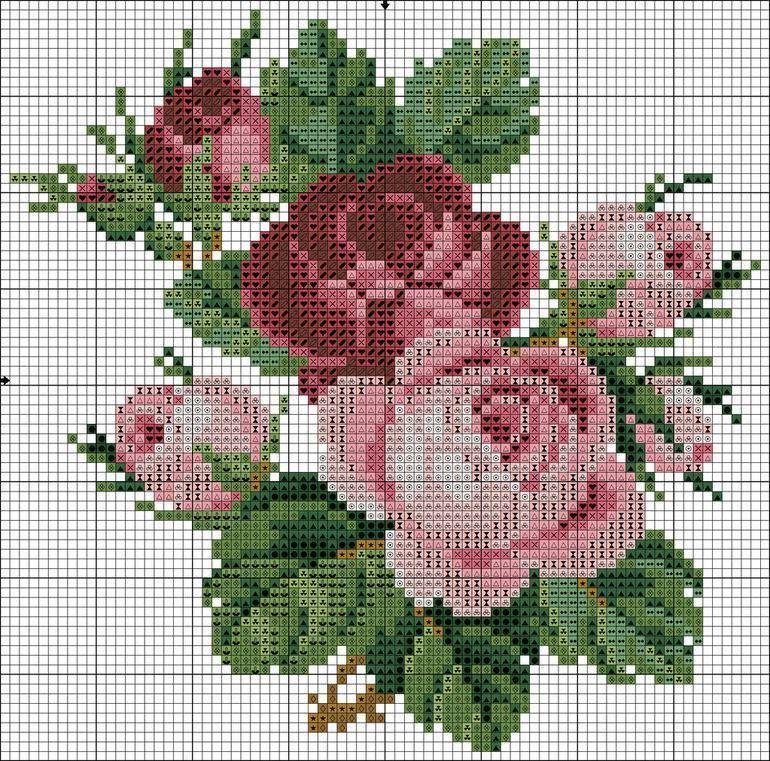 Flores Graficos Ponto Cruz Rosa Ponto Cruz Ponto Cruz Padroes