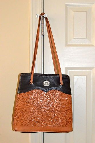 Montana Silversmiths Hand Tooled Brown Black Leather Purse Handbag Tote Silver Ebay