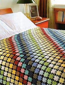 cobija o colcha de colores tejida a crochet Los diseños