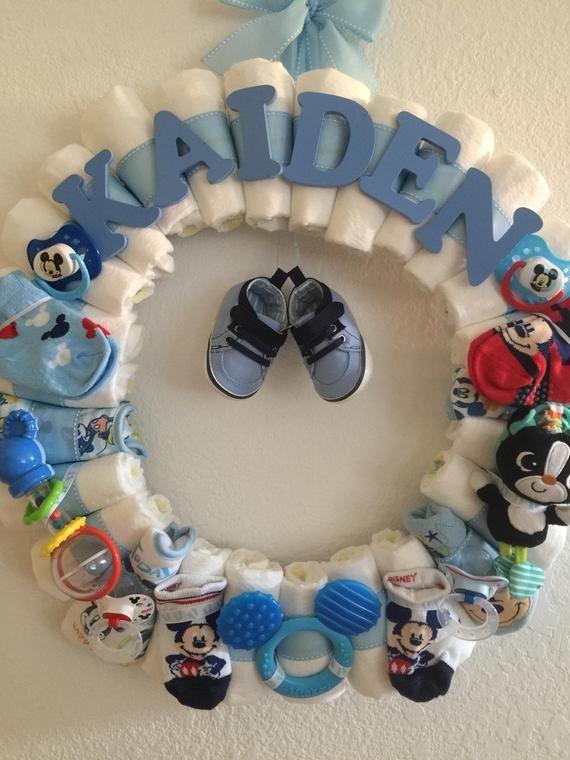 Baby Boy Mickey Diaper Wreath-Baby Shower Decor-Custom Theme-Custom Name-Baby Gift-Baby Shower Gift-Baby Girl-Baby Shower-Monogram-Nursery