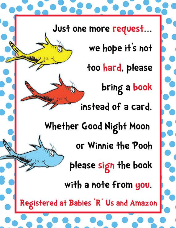 DIY PRINTABLE Dr Seuss Baby Shower Invitation Insert Custom