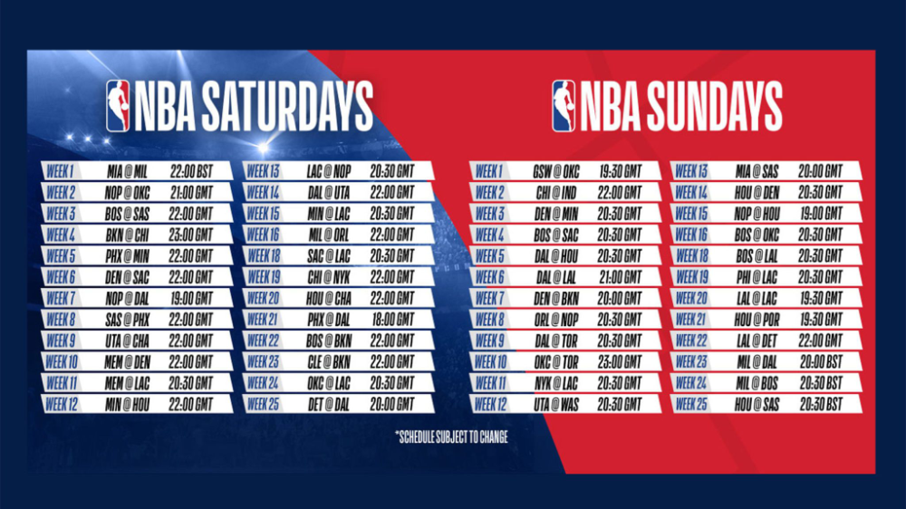 NBA 201920 schedule includes record number of weekend