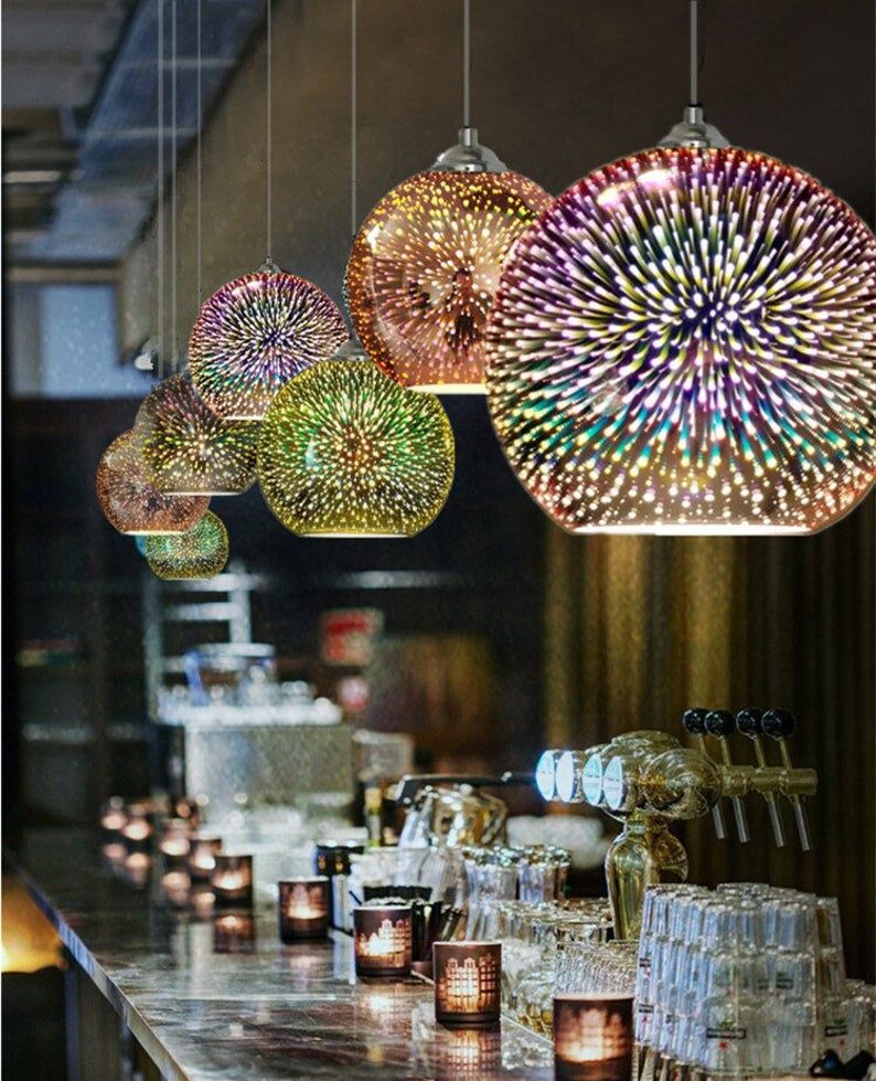 3d Effekt Glas Anhanger Licht Spiegel Oberflache Lampe Farbe Etsy In 2020 Glass Pendant Light Colorful Lamp Shades Glass Pendant Lamp