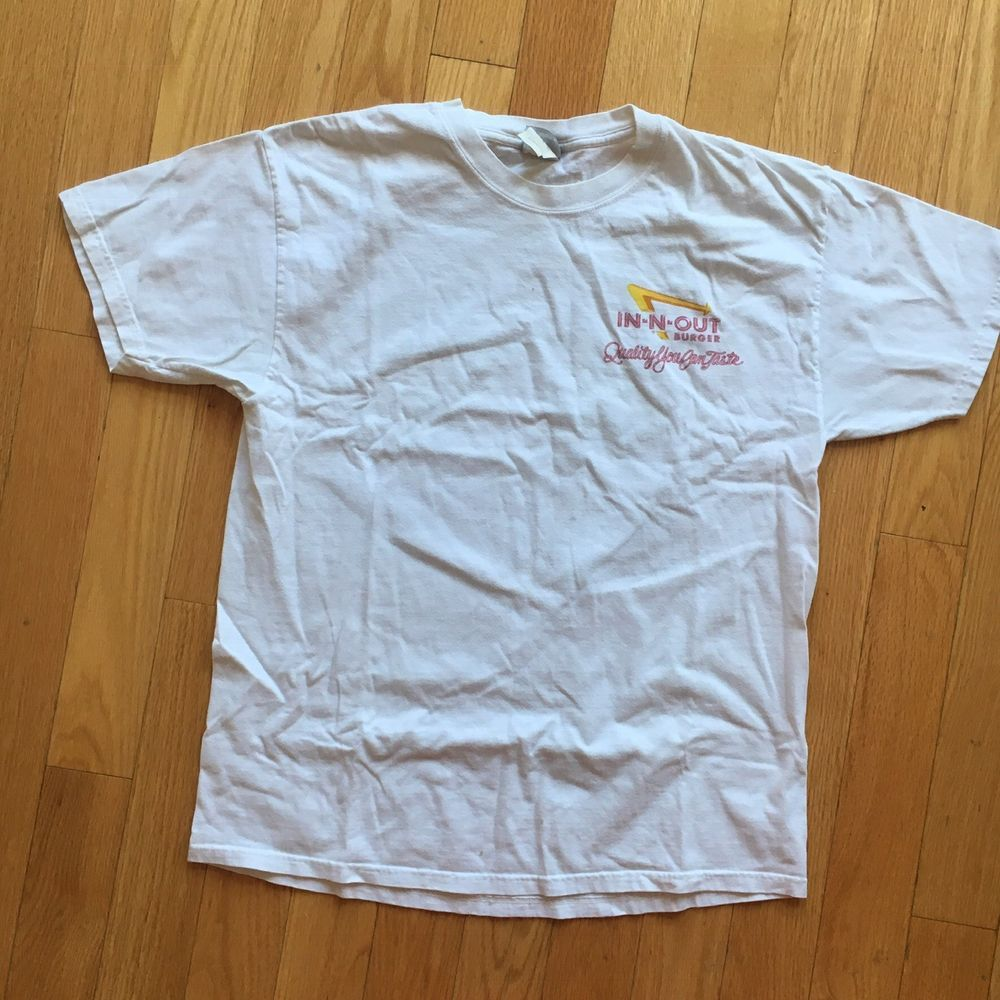 35b0f0b7b5a IN N OUT BURGER Tshirt Mens Size L Front And Back White 60th Anniversary.