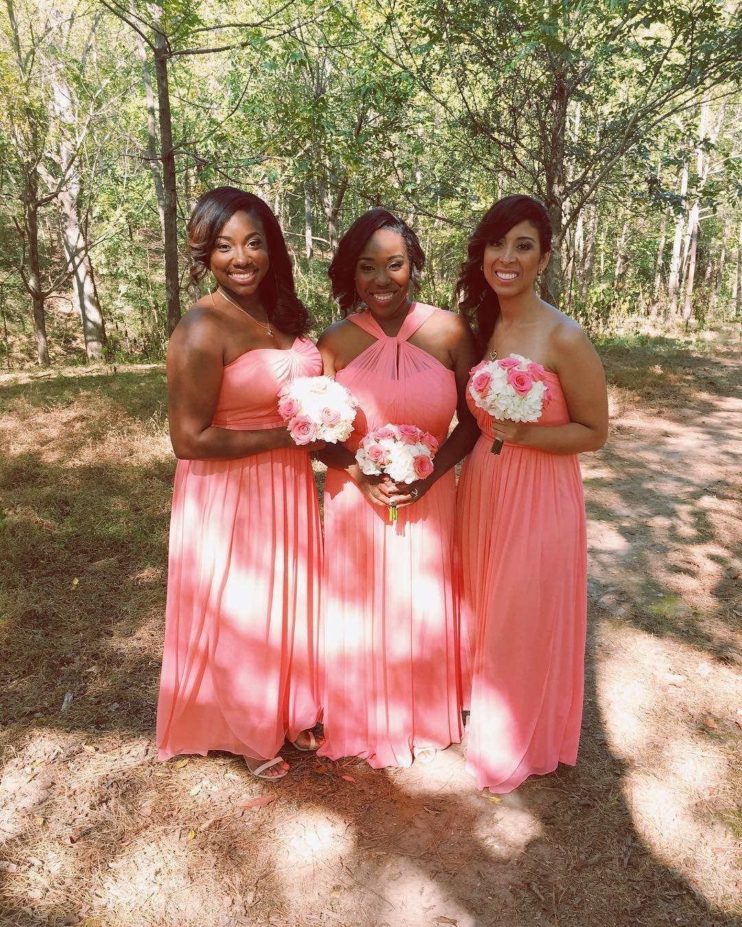Coral bridesmaids in David\'s Bridal convertible bridesmaid dresses ...