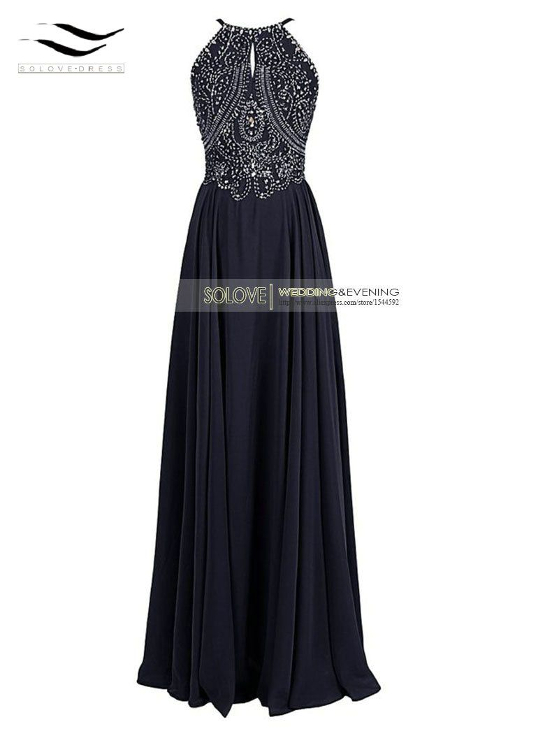 Click to buy ucuc elegant sexy chiffon a line crystal long prom dress