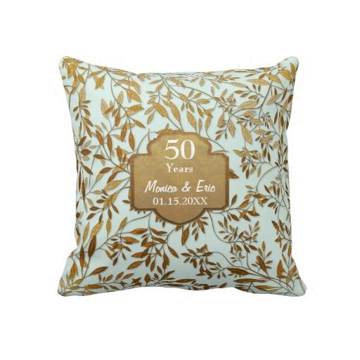 Leaves of Gold 50th Wedding Anniversary Pillow