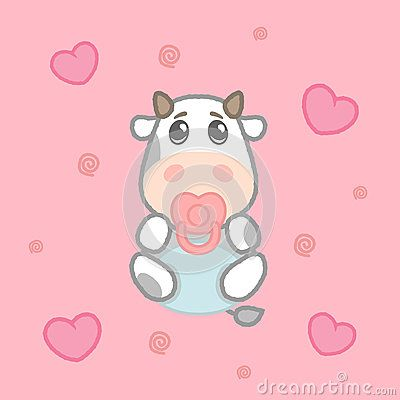 Cartoon cute girl cow baby in diaper, drawing for kids