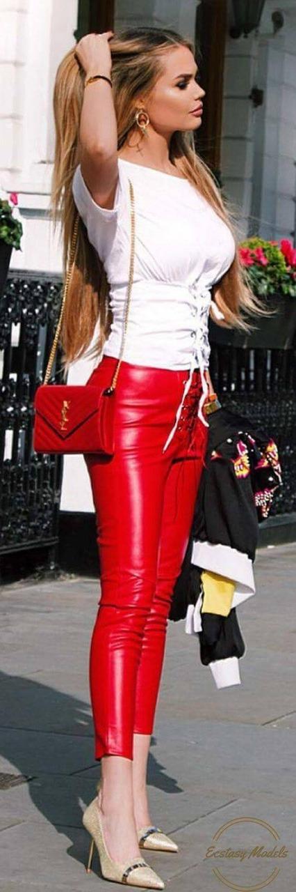 chic red leather pants leather jeans pinterest leder sch ne kleider und sexy. Black Bedroom Furniture Sets. Home Design Ideas