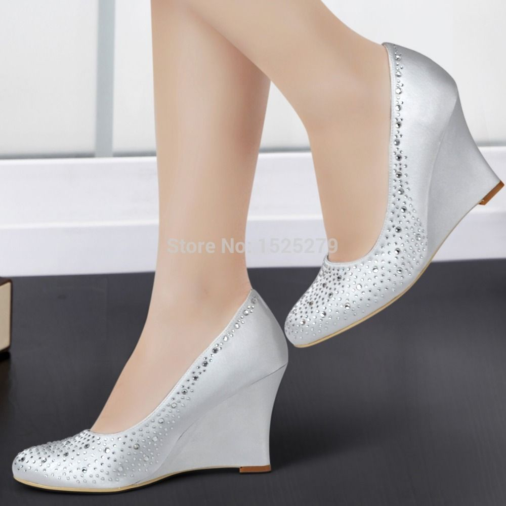 EP2003 Silver Ivory White Women Bride Wedding Party Pumps Bridesmaids Wedge  Heels Evening Prom Rhinestones Satin