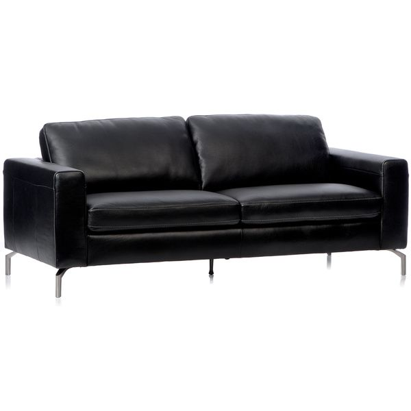 Natuzzi Rovigo Black Italian Leather Metal Leg Sofa Ping Great Deals On