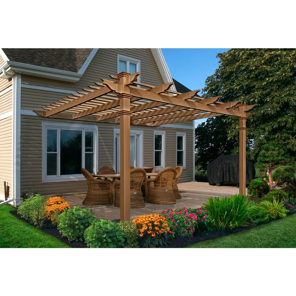 New England Arbors Kennedy 12 Ft X 12 Ft Cedar Composite Attached Pergola Va84047 The Home Depot Backyard Patio Designs Outdoor Pergola Vinyl Pergola