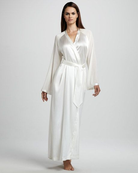 68aaa00839 Women s White Vestaglie Long Silk Robe Neutral